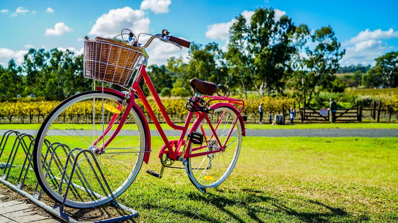 Cykel parkerad på gräsmatta